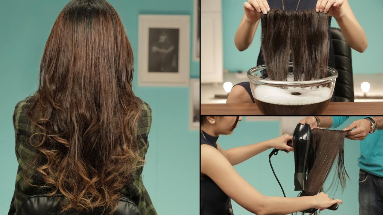 Image Showing The Steps to washing a hair extension.