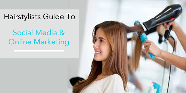 The image shows a young lady get her hairstyle done with a guide to social media marketing for their business.