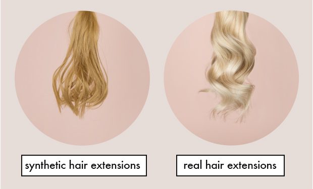 Image Showing Synthetic and Real Hair extensions.
